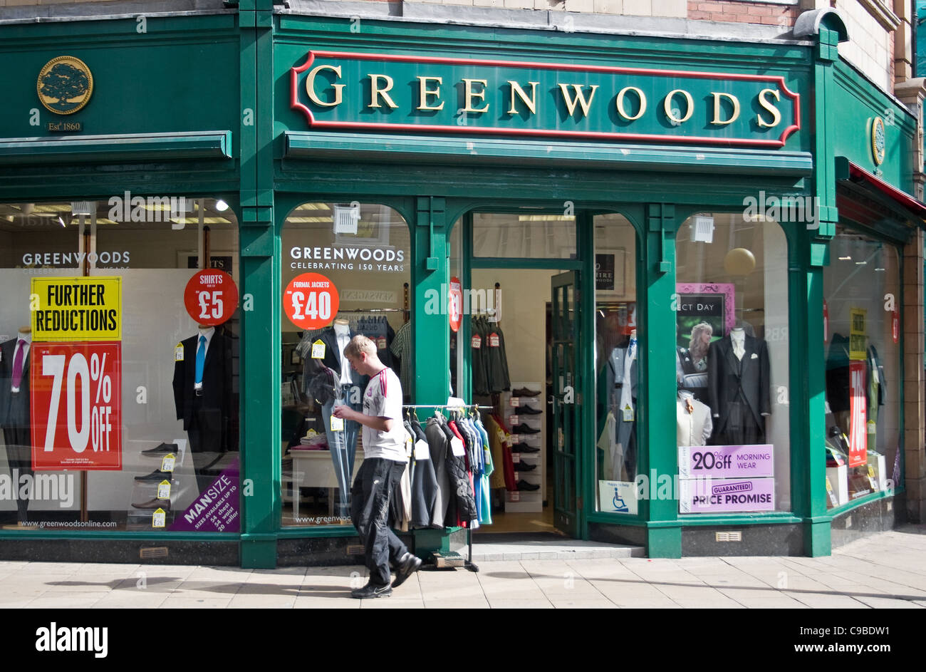 Greenwoods menswear shop, Coppergate, York, England, UK Stock Photo ...