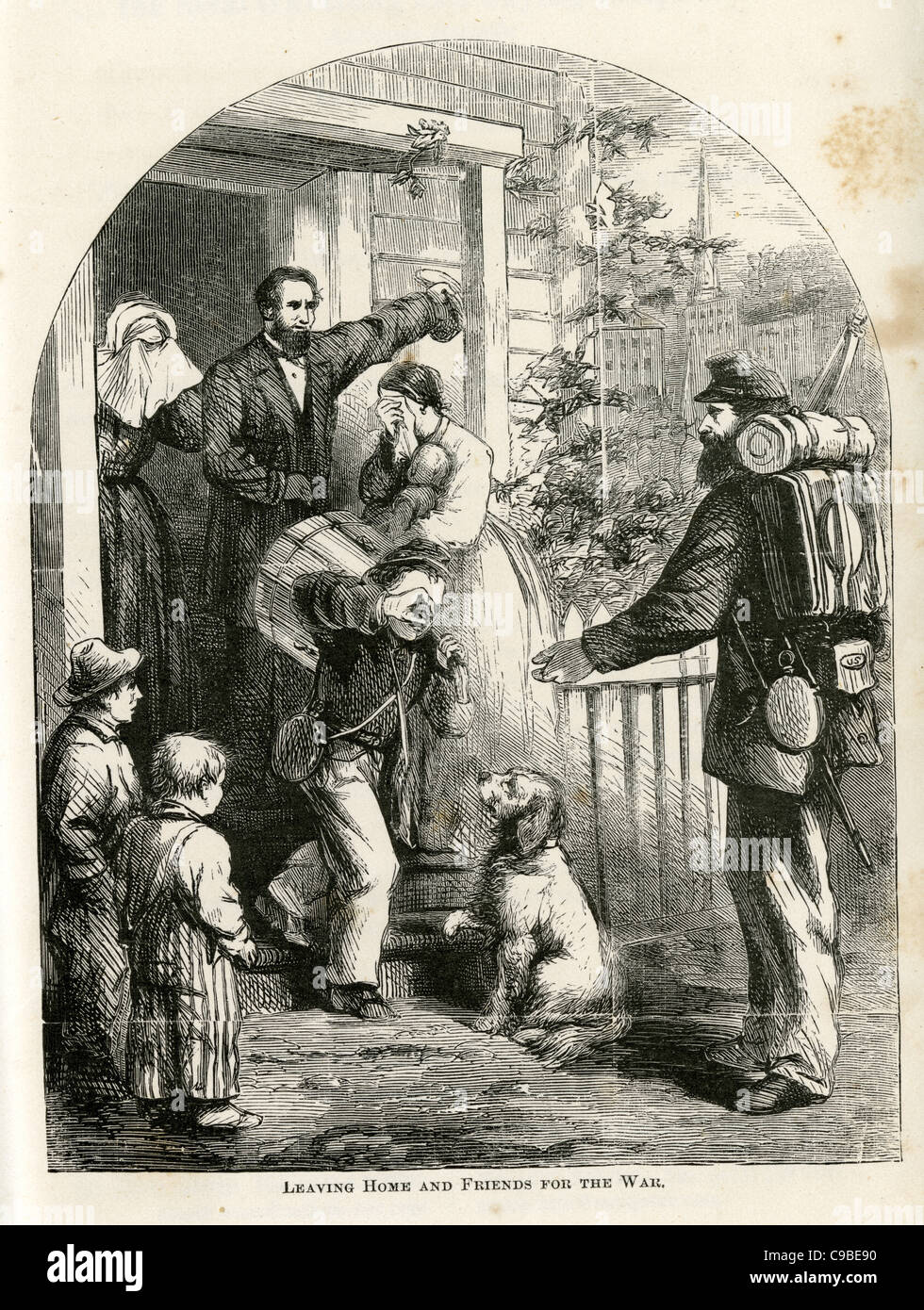 Antique engraving of a drummer boy leaving home. From 1867 Civil war book, The Boys in Blue. - Stock Image