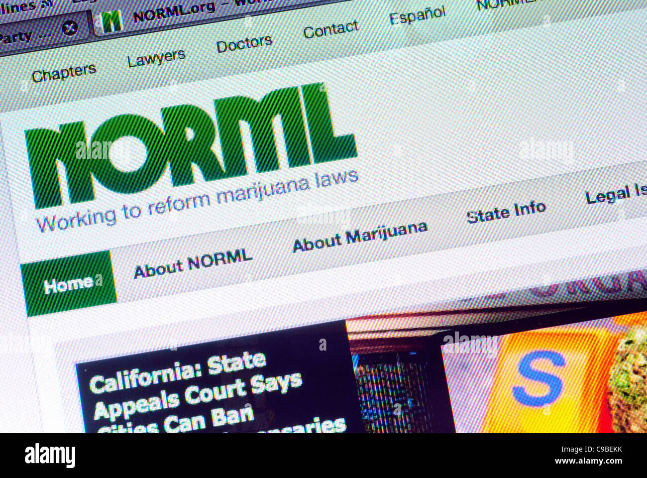 National Organization for Reform of Marijuana Laws (NORML) website - Stock Image