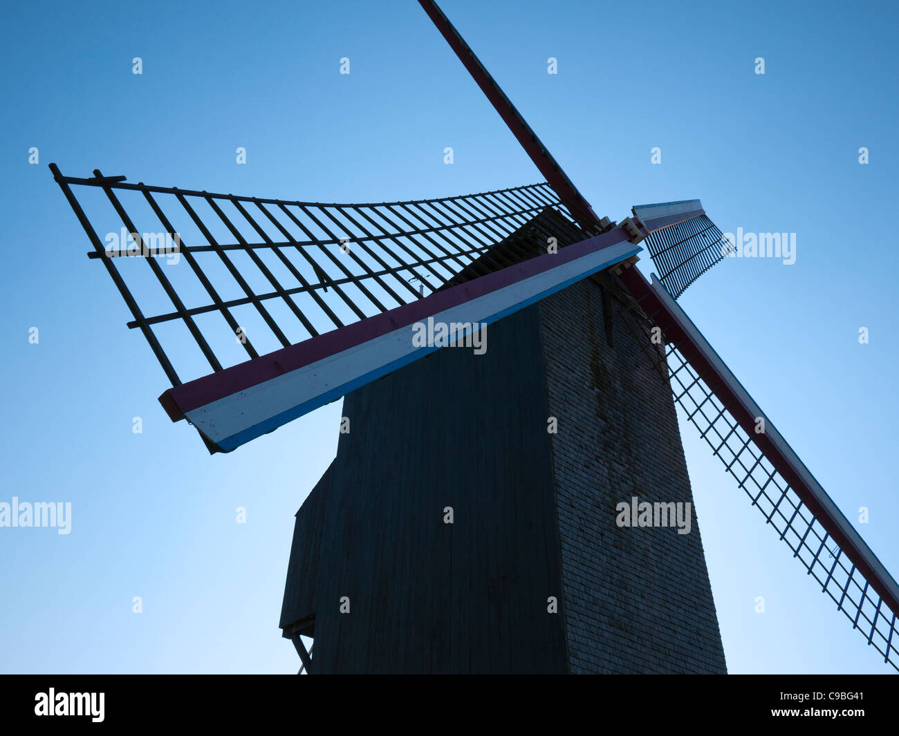 Evening view of 'De Koelewei' Mill (1765), a windmill near the Dampoort in Bruges, Belgium - Stock Image