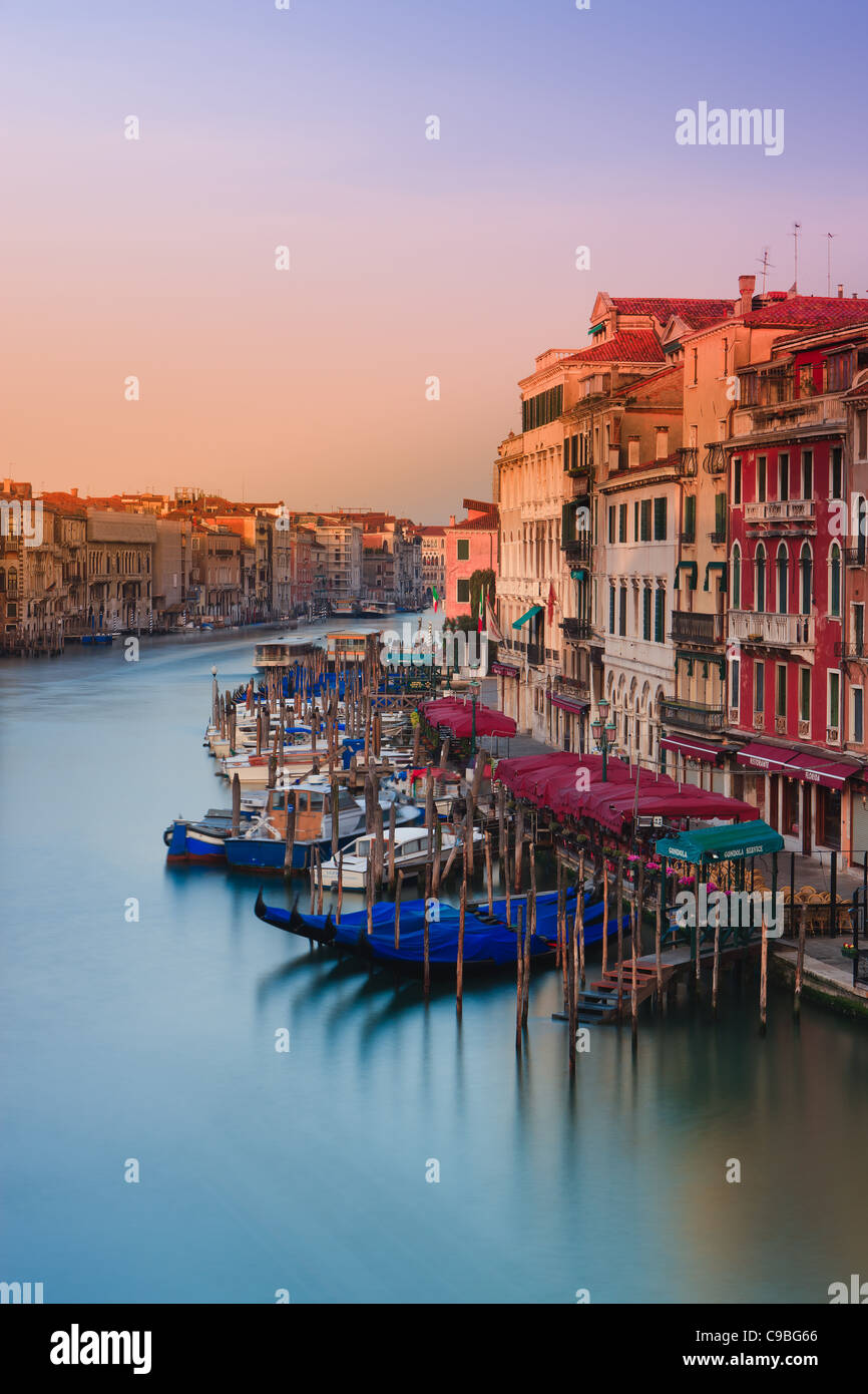 Sunrise in Venice from the Rialto Bridge with the view on the Grand Canal Stock Photo