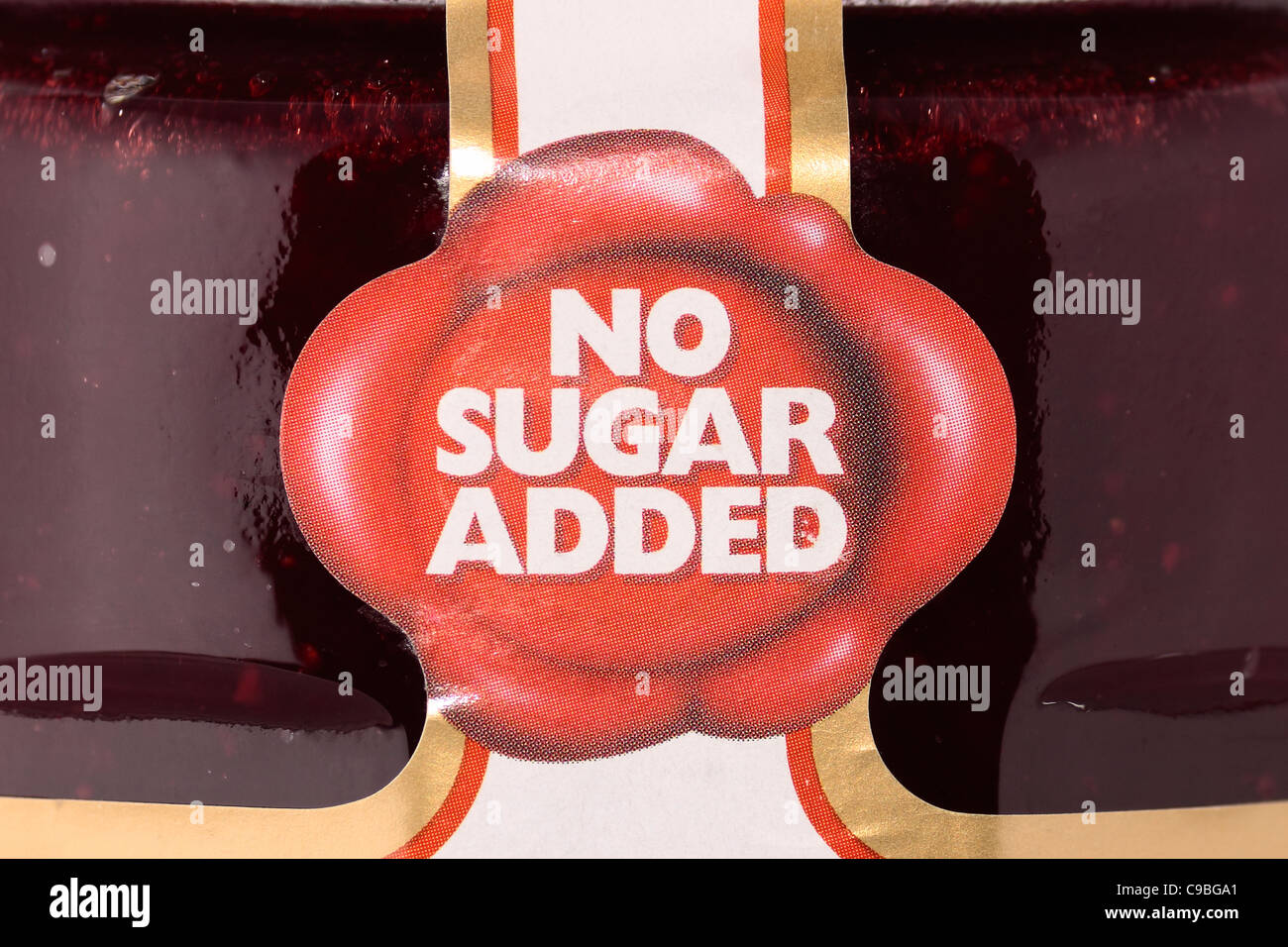 Diabetic strawberry jam with 'No Sugar Added' label - Stock Image