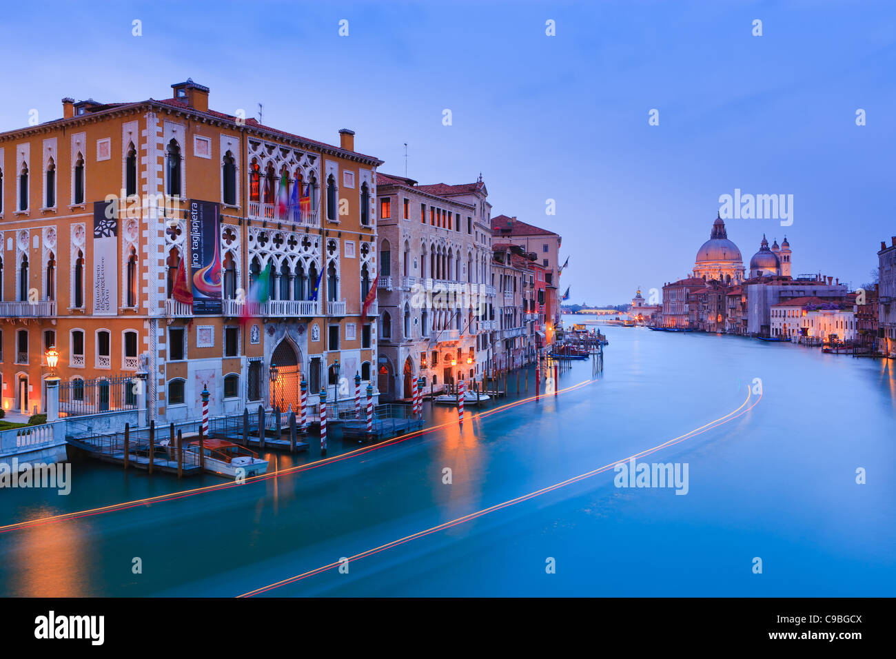 Sunset in Venice from the Accademia Bridge with the view on the Grand Canal - Stock Image