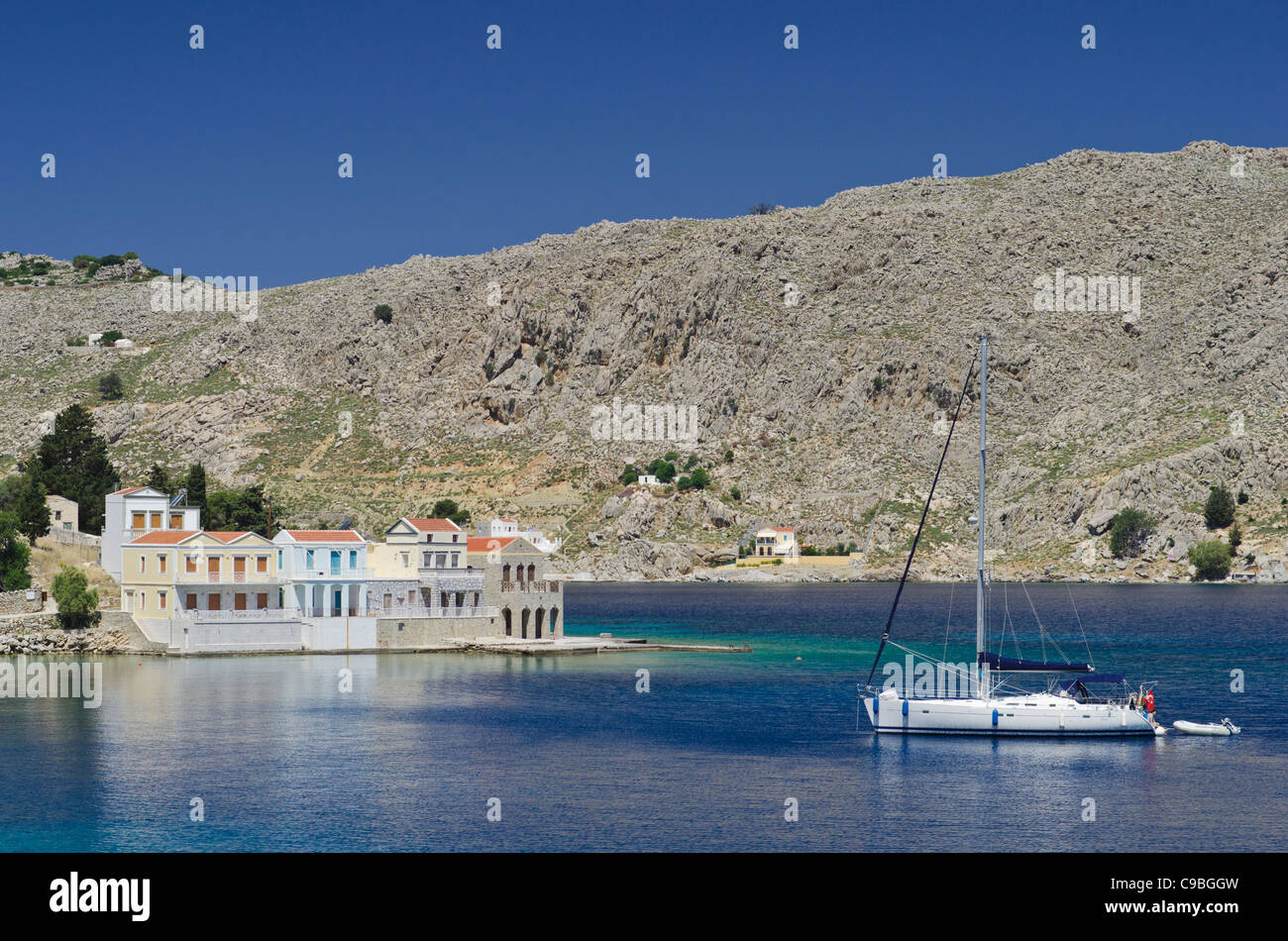 Symi Island coastal views from the road to Emborios, Greece - Stock Image