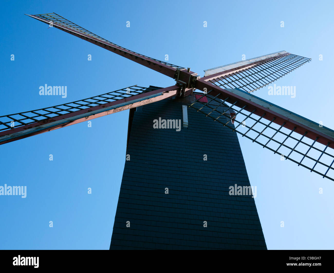 'De Koelewei' Mill (1765), a windmill near the Dampoort in Bruges, Belgium - Stock Image