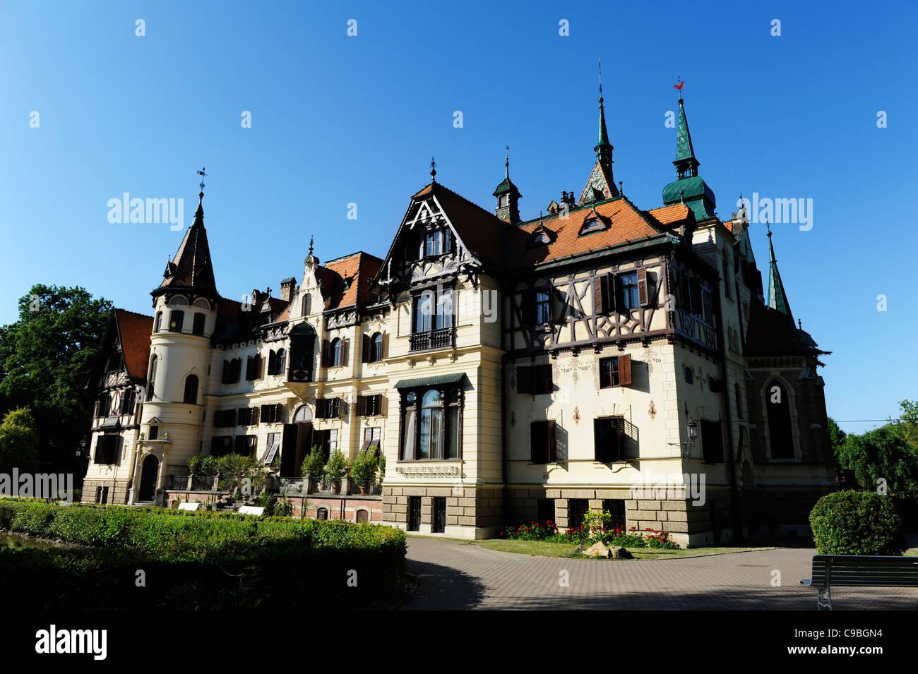 Lesna Castle in the ZOO, Zlin region. Czech Republic - Stock Image
