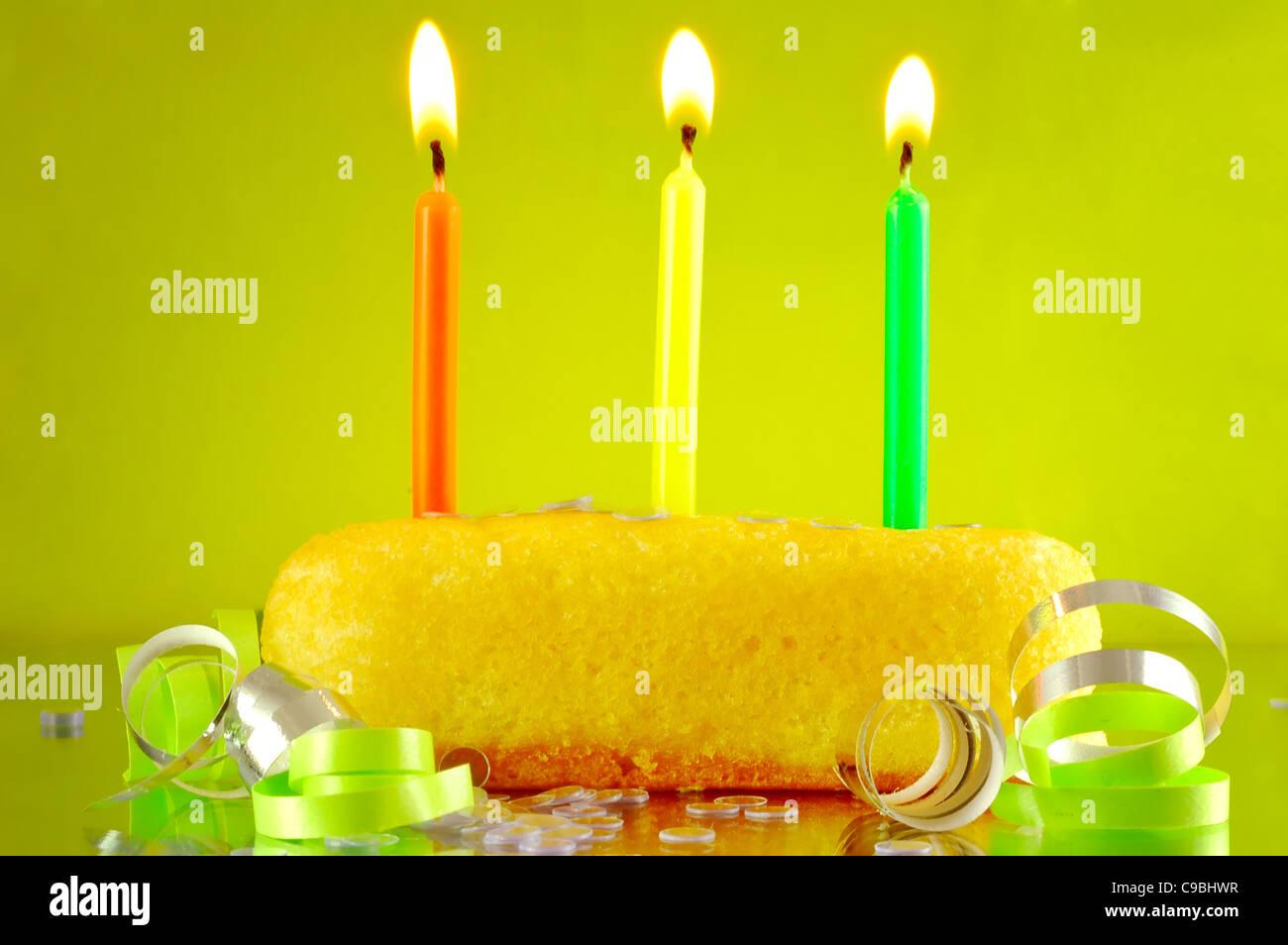 Stupendous Twinkie With Birthday Candles Stock Photo 40208163 Alamy Birthday Cards Printable Benkemecafe Filternl