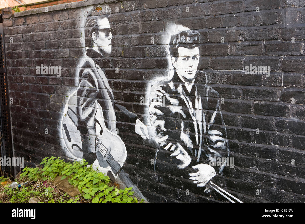 The Liverpool Mural Project_ The Riverside Group_Wall Paintings of the  Beatles, Seaforth, Merseyside, UK - Stock Image