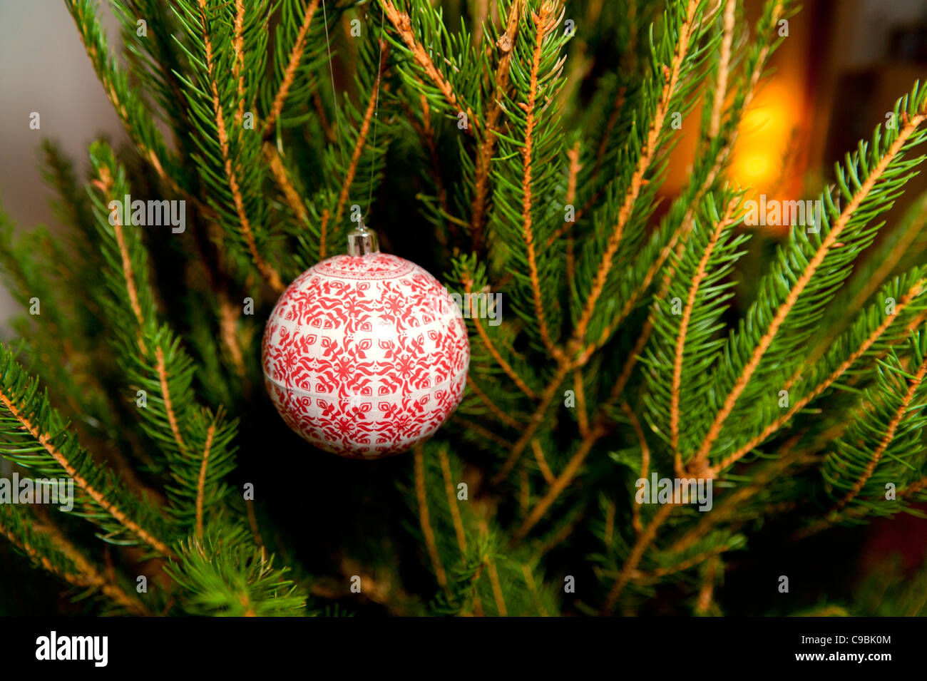 Ball on a Christmas tree - Stock Image