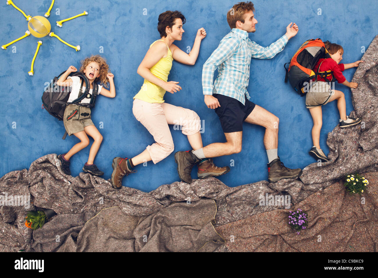Germany, Artificial scene of family mountaineering - Stock Image