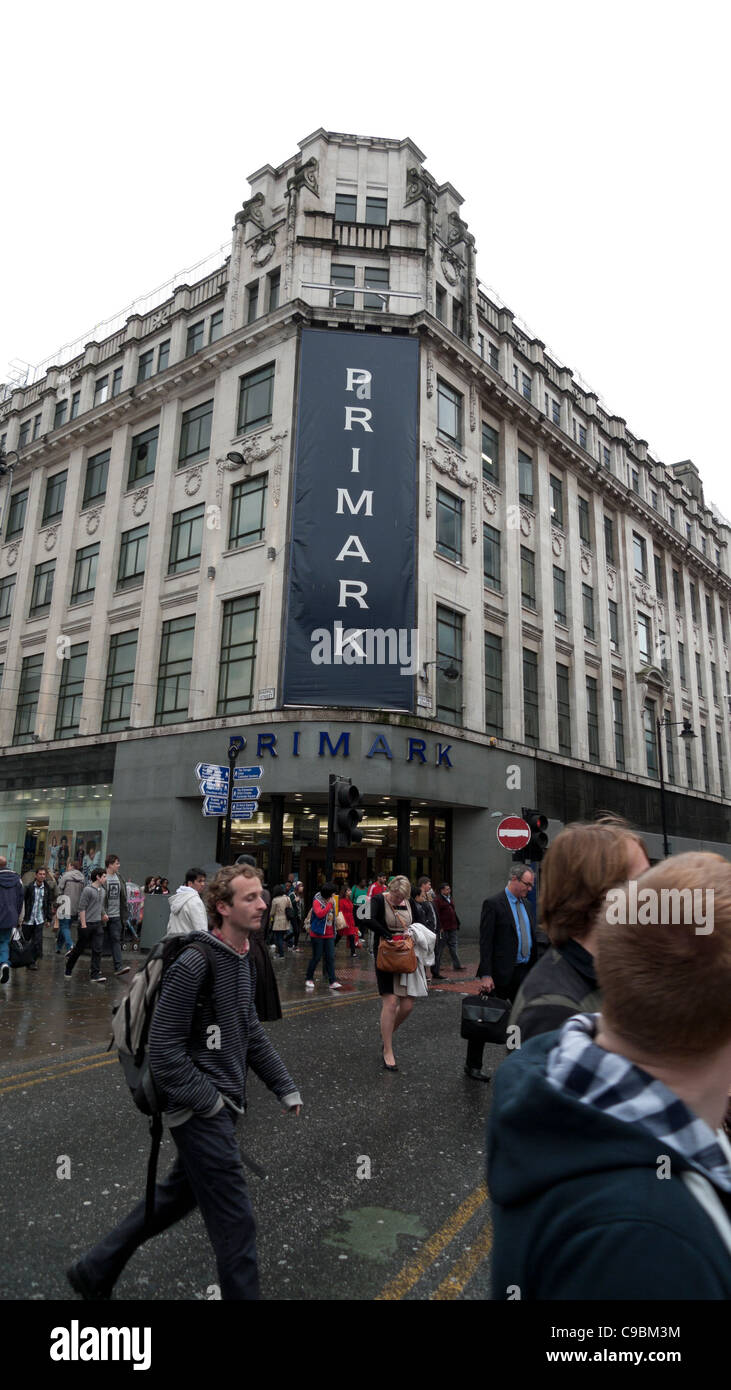 People walking past Primark store in Central Manchester, England, UK   KATHY DEWITT - Stock Image