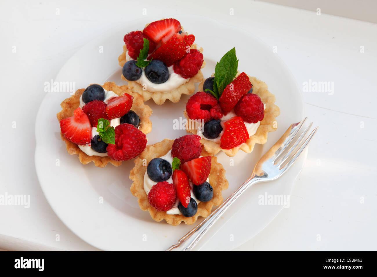 FRESH FRUIT TARTS - Stock Image