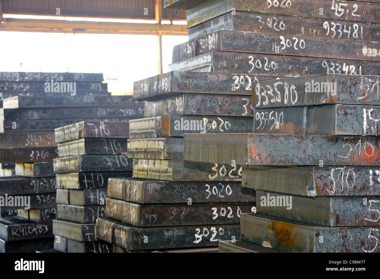 piles of steel sheet - Stock Image