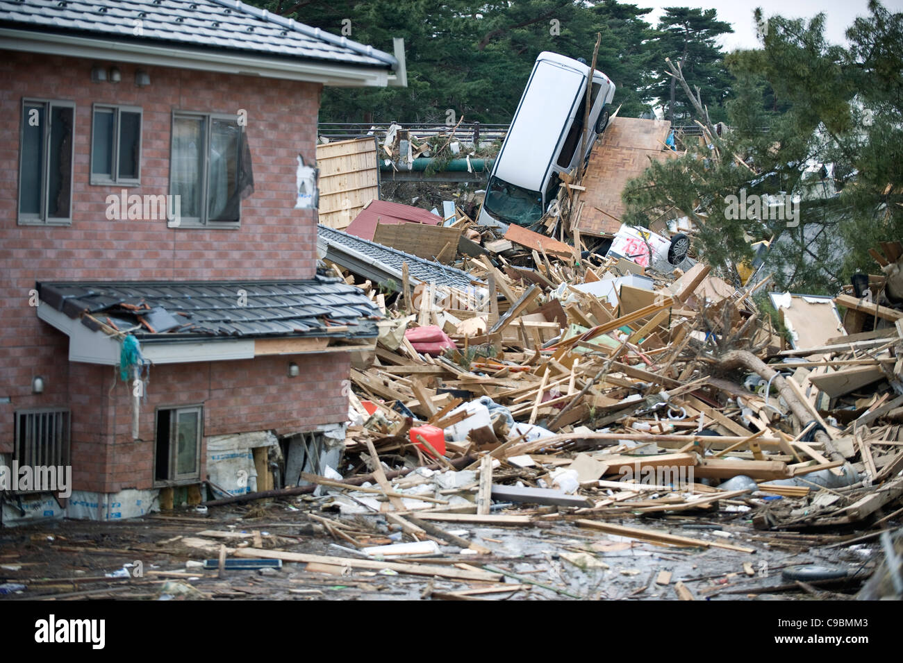 Photo shows the debris following the March 11 quake and tsunami in Nobiru, Miyagi Prefecture, Japan - Stock Image