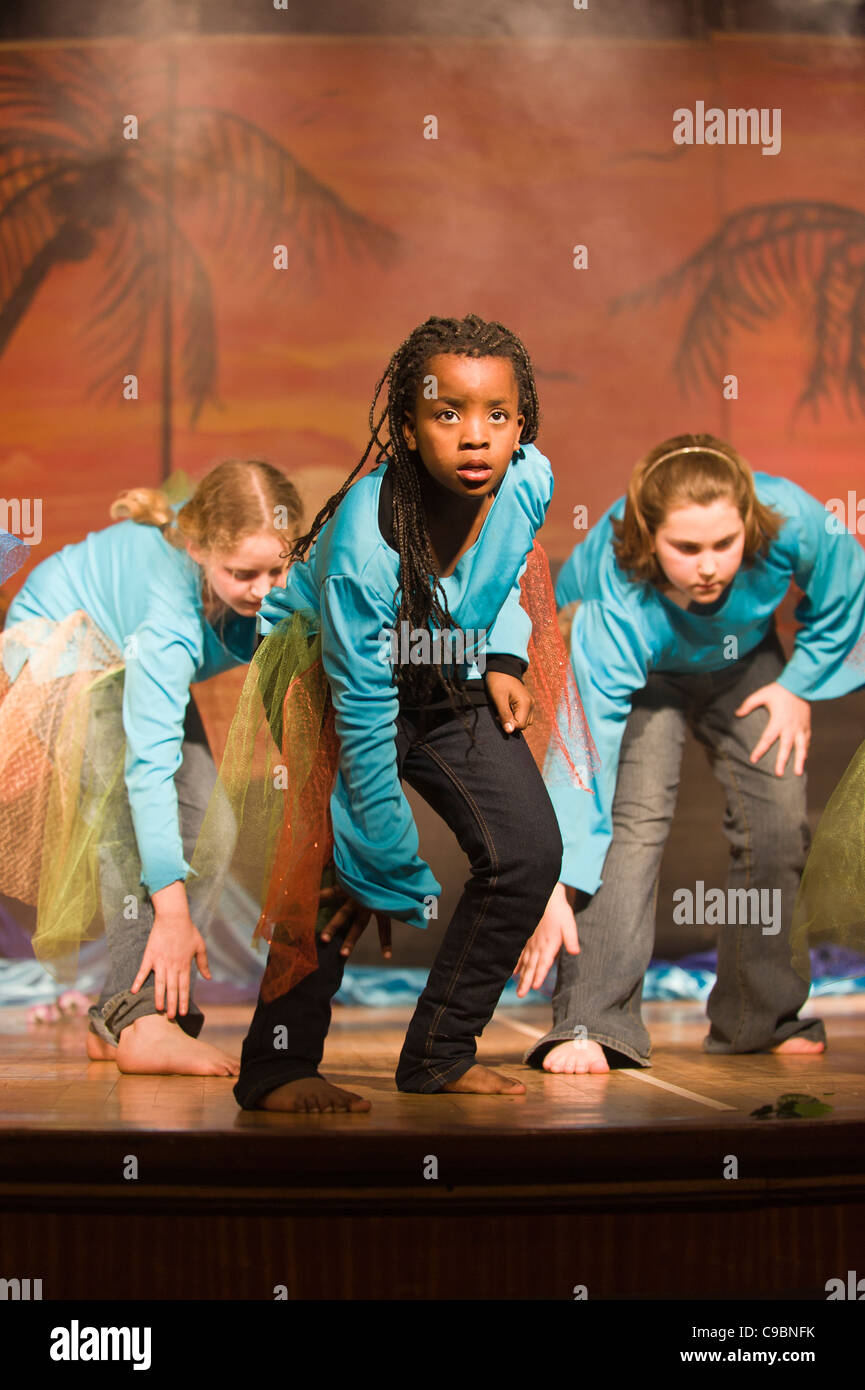 Students performing stage play at St Georges School Cape Town South Africa - Stock Image
