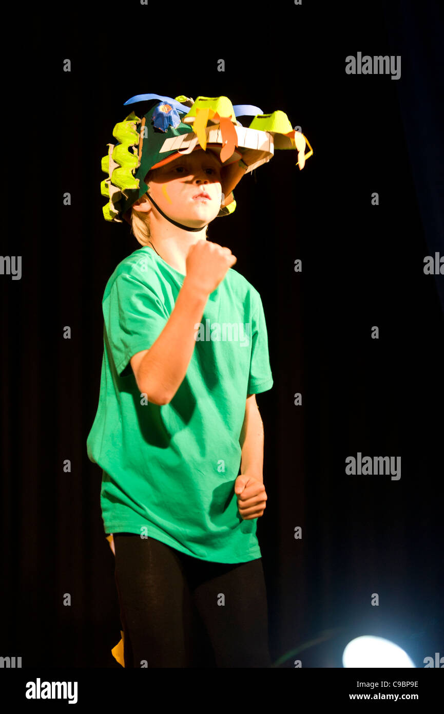 Student performs as a crocodile in a stage play at St Georges School Cape Town South Africa - Stock Image