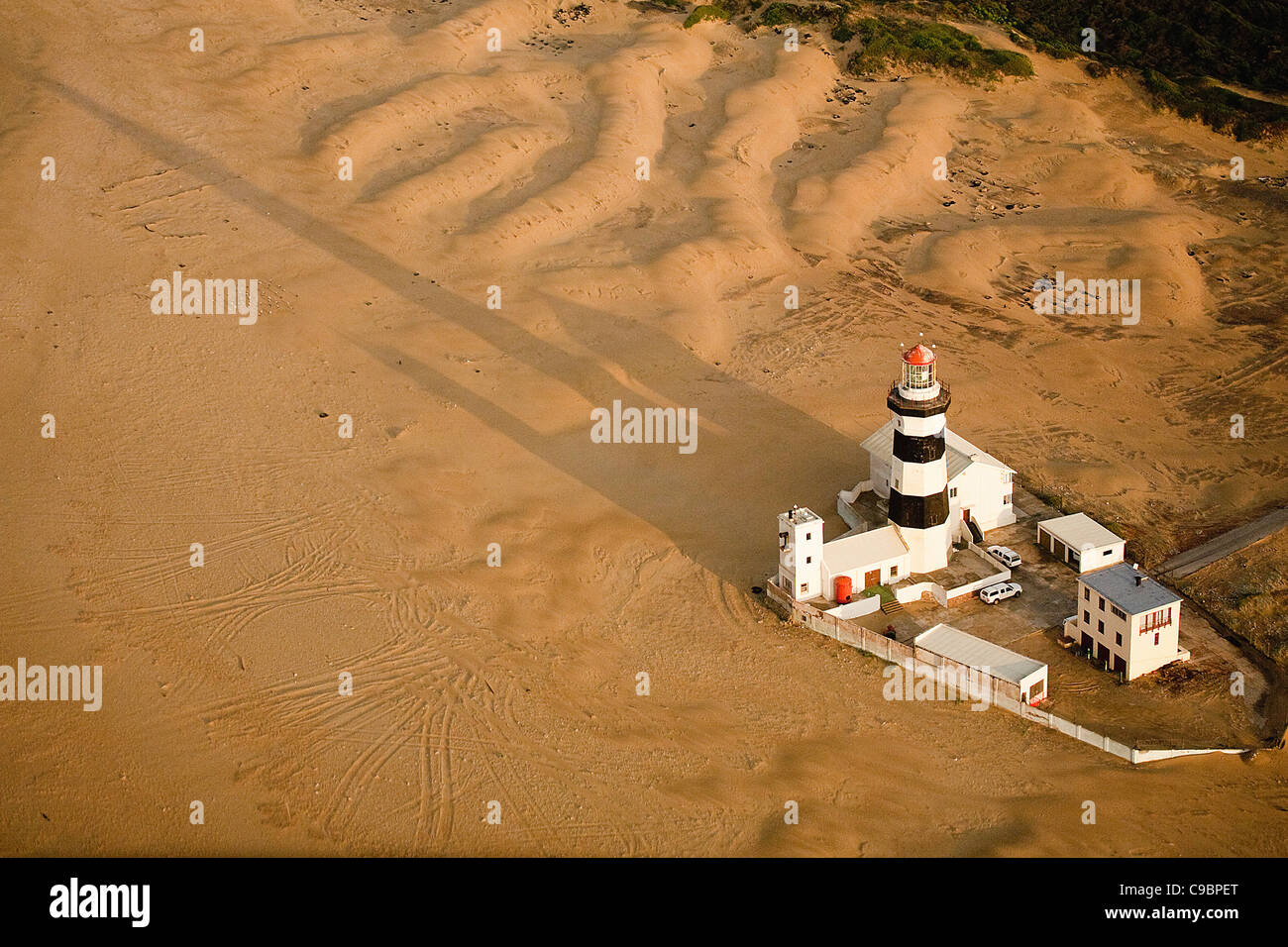 Aerial view of Cape Recife Lighthouse, Nelson Mandela Bay, Port Elizabeth, Eastern Cape Province, South Africa - Stock Image