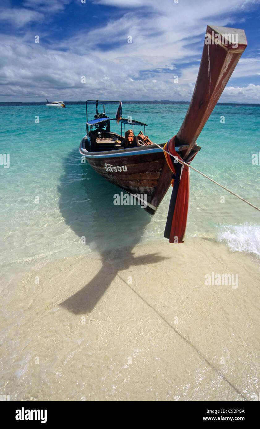 Long-tail boat on Ko Poda, Thailand - Stock Image