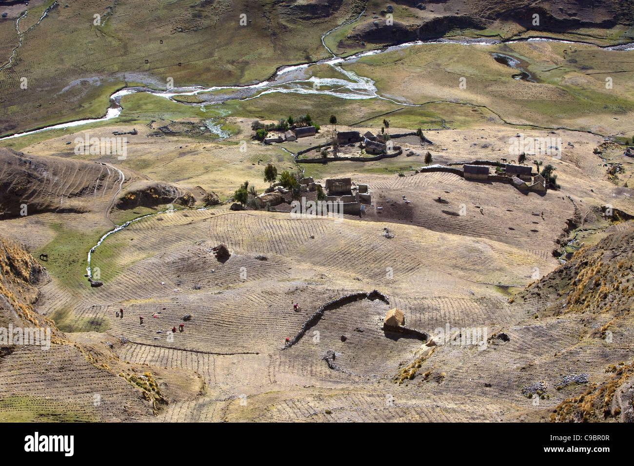 Subsistence crop farmlands near Ollantaytambo, Urubamba Province, Lares, Peru, South America - Stock Image