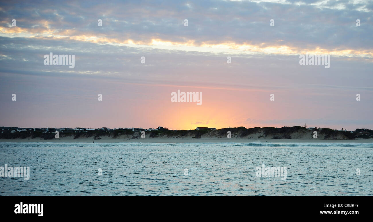 Sunset over St Francis Bay, Cape Town, Western Cape Province, South Africa - Stock Image