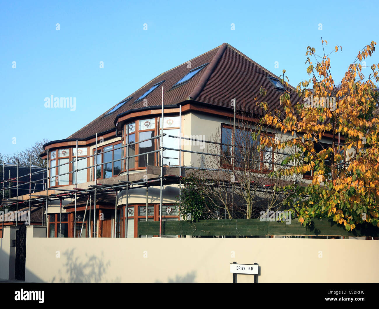 Scaffolding on a House - Stock Image
