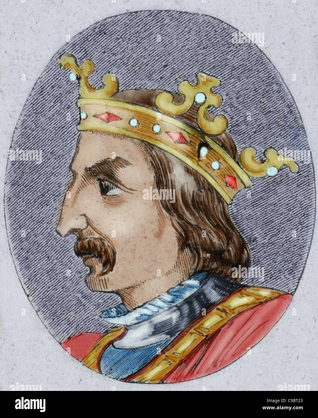 Sancho IV the Brave (1258-1295). King of Castile, Leon and Galicia from 1284 to his death. Colored engraving. - Stock Image