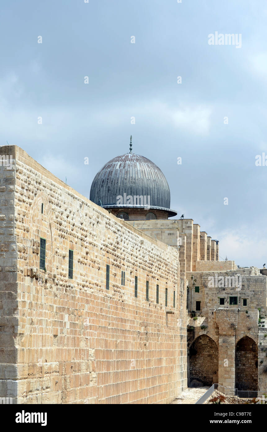 Israel, Jerusalem, Old City, Al Aqsa Mosque on Temple Mount - Stock Image