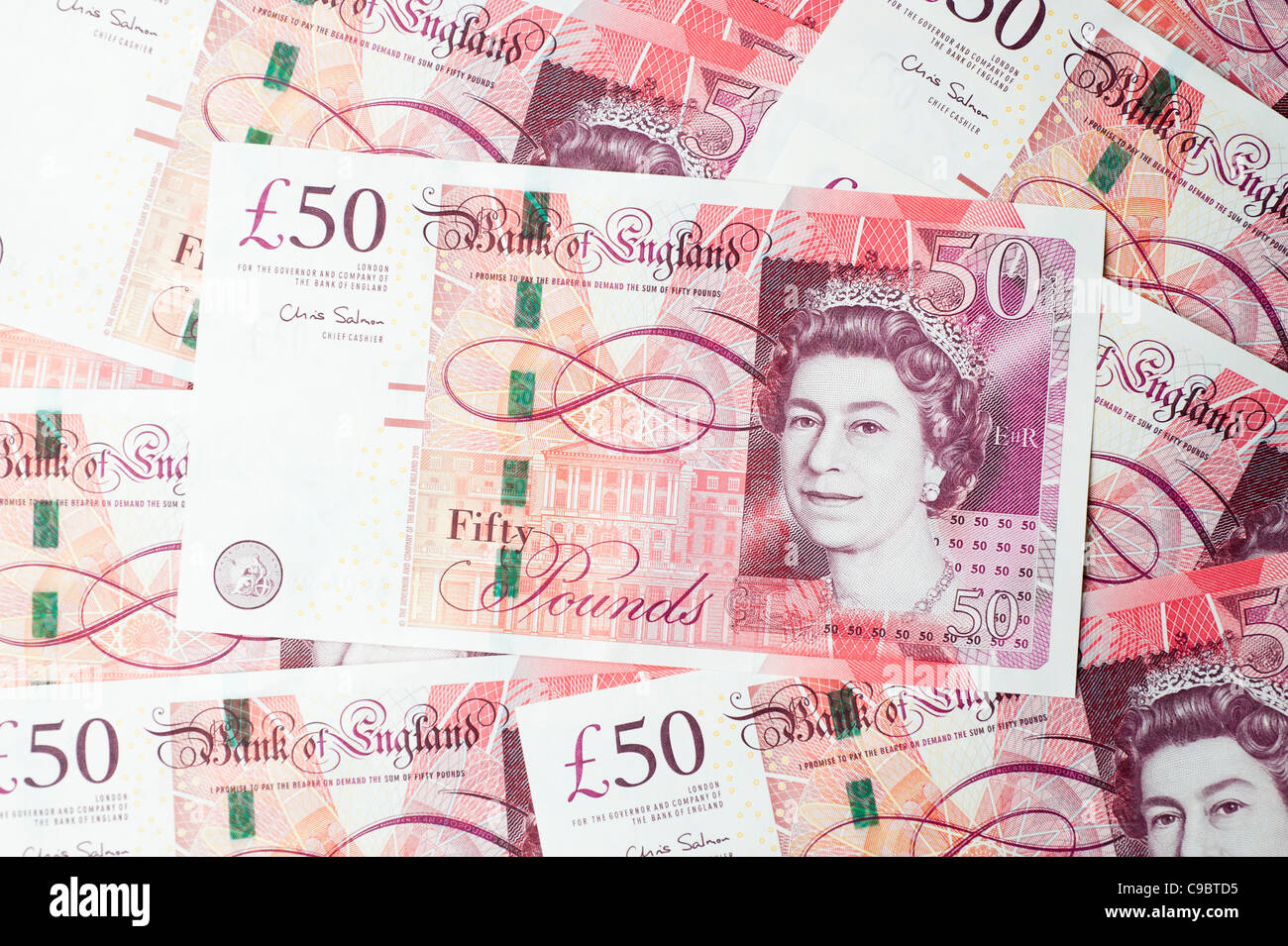 New UK £50 notes, the highest denomination note in circulation, issued by the Bank of England on 2 November - Stock Image