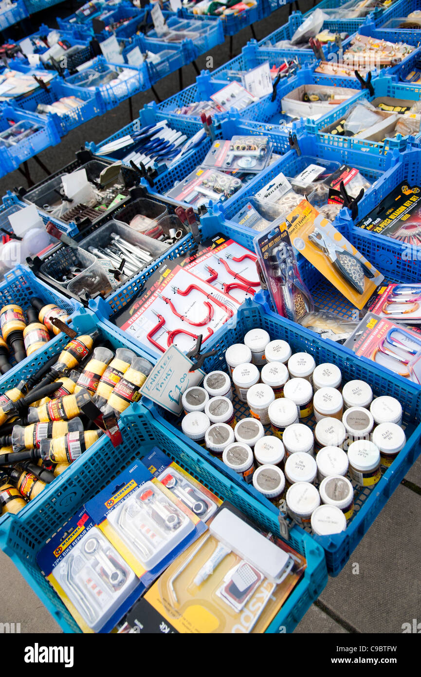 Cheap bargain household goods and tools on sale Aberystwyth November winter fair, Wales UK - Stock Image