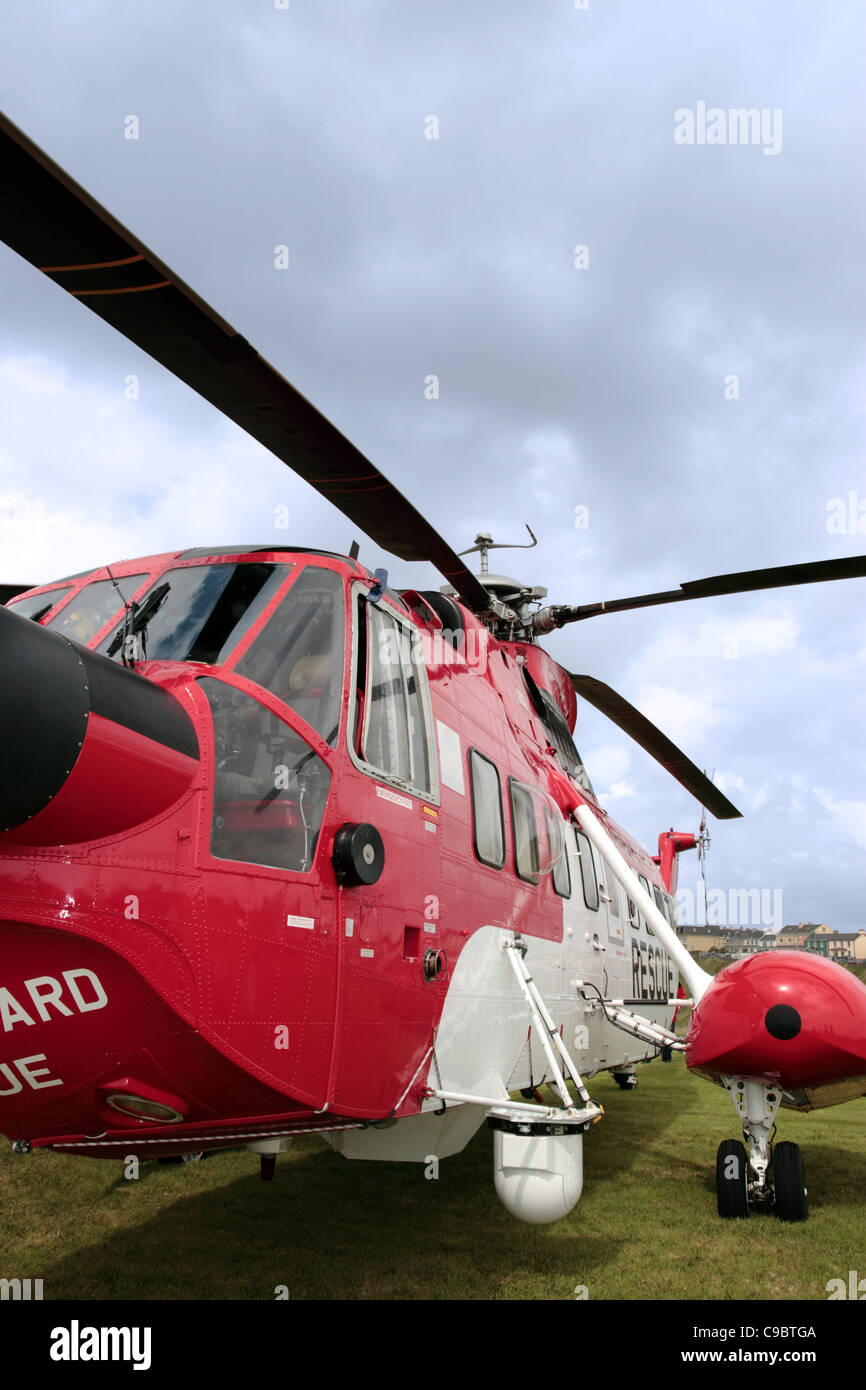the rotor blades of a sea rescue helicopter - Stock Image