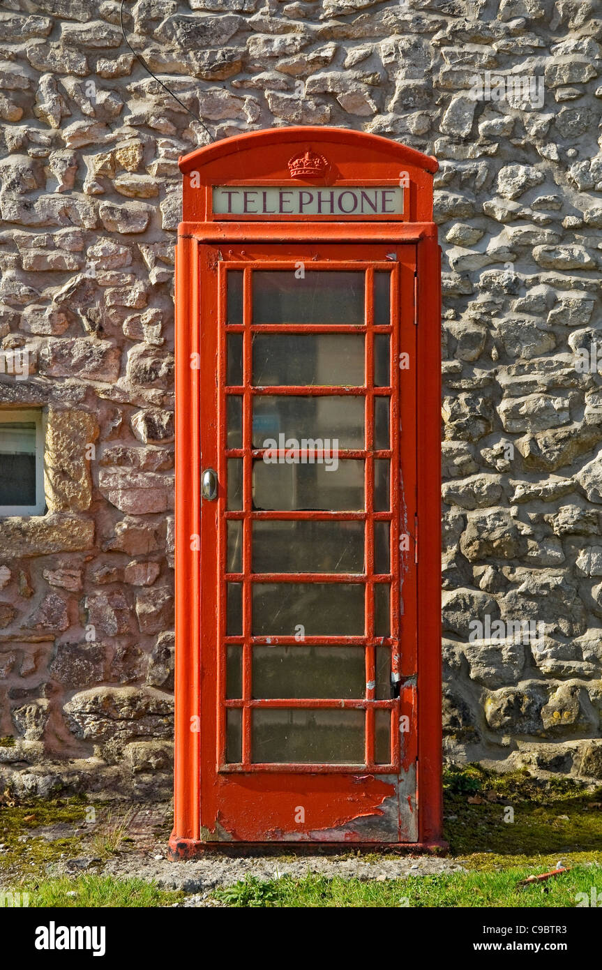 Traditional red telephone box England UK United Kingdom GB Great Britain - Stock Image