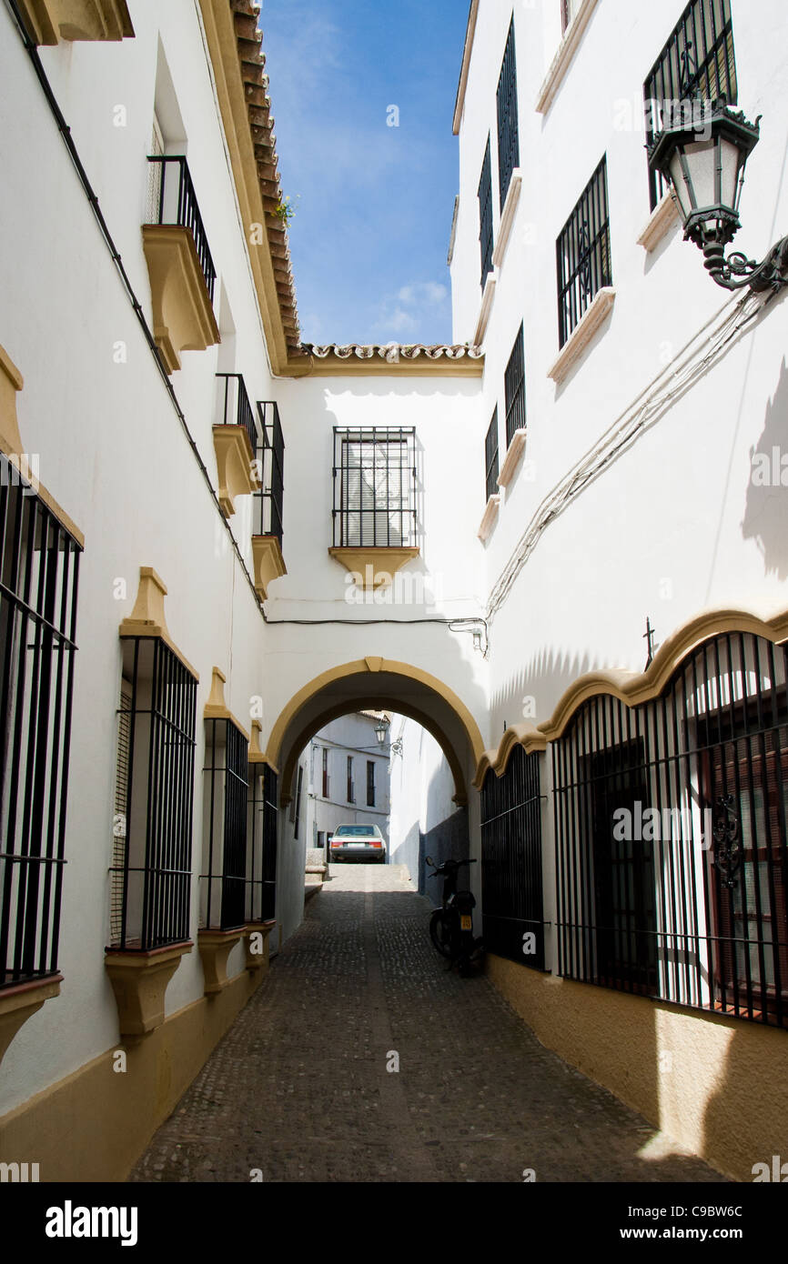 Traditional architecture with span in Ronda, Andalucia, Spain - Stock Image