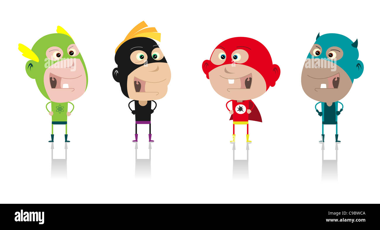 Illustration of funny cartoon band of superhero kids during carnival or halloween - Stock Image
