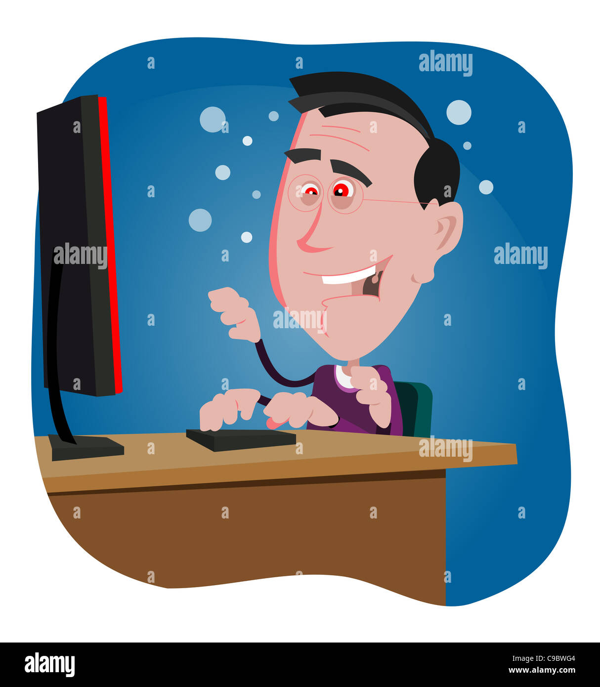 Illustration of a computer addicted cartoon man working in the night - Stock Image