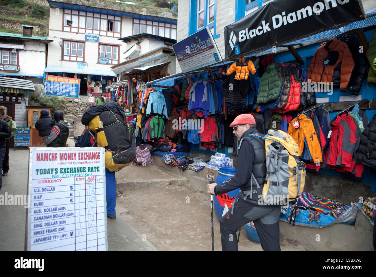 October 2009 Everest Base Camp Trek - Shop Namche Bazaar - general street scenes - Stock Image