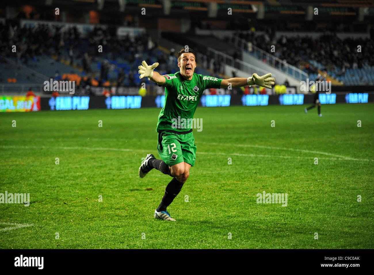 Goalkeeper celebrating his team's goal - Stock Image
