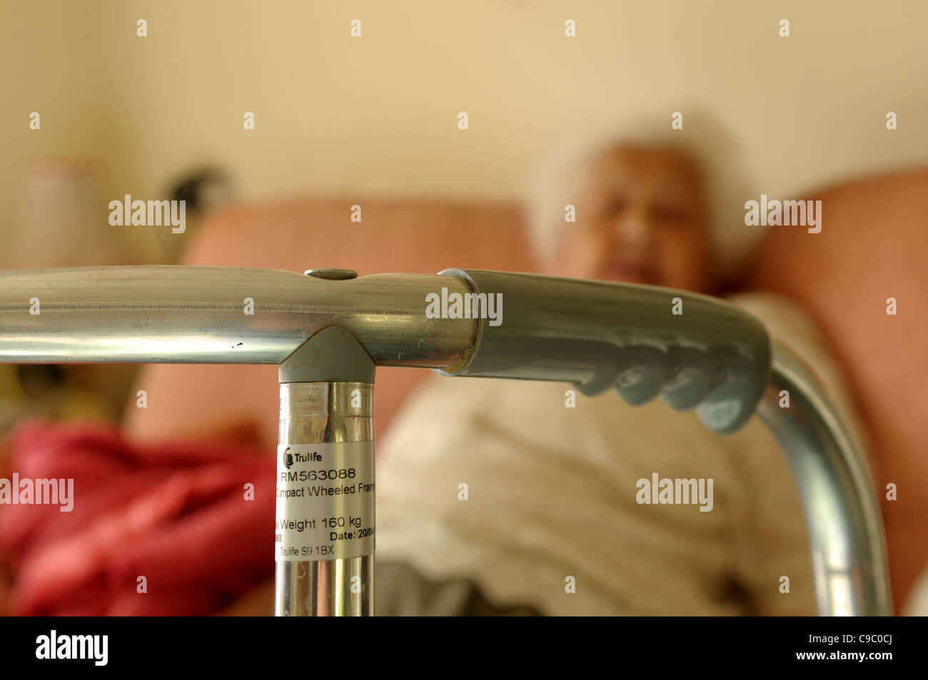 Elderly Women And Walking Frame. Stock Photo