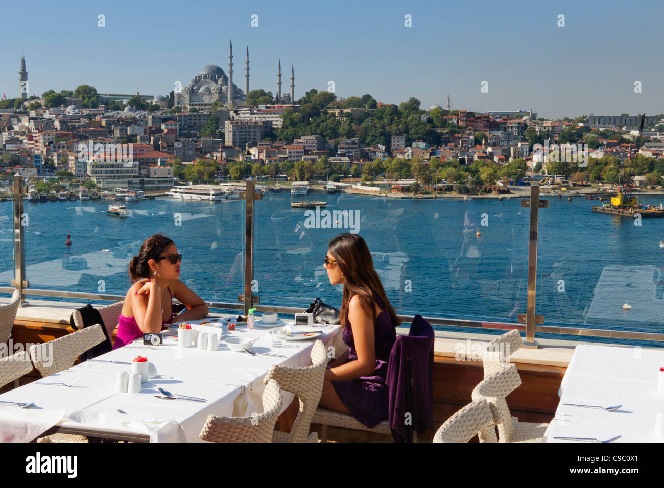 roof top terasse of Golden City Hotel, Golden Horn, Suleymaniye mosque, Istanbul, Turkey , Europe, - Stock Image