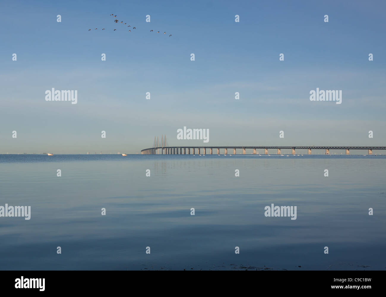 The bridge over Oresund between Copenhagen Denmark and Malmo Sweden. This link is important for the growth in South Stock Photo
