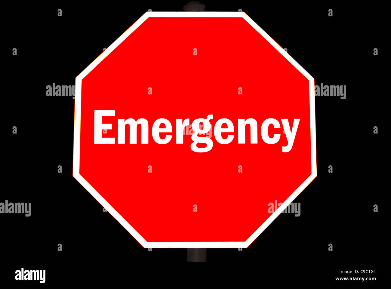 Emergency Concept On A Red Stop Sign - Stock Image