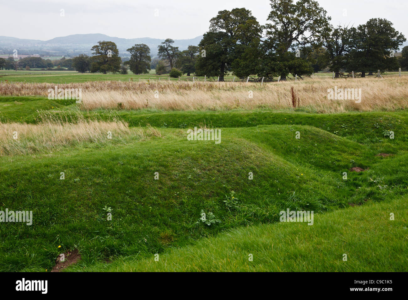 Remains of World War One trench training system in the grounds of Bodelwyddan Castle, Denbighshire, Wales - Stock Image