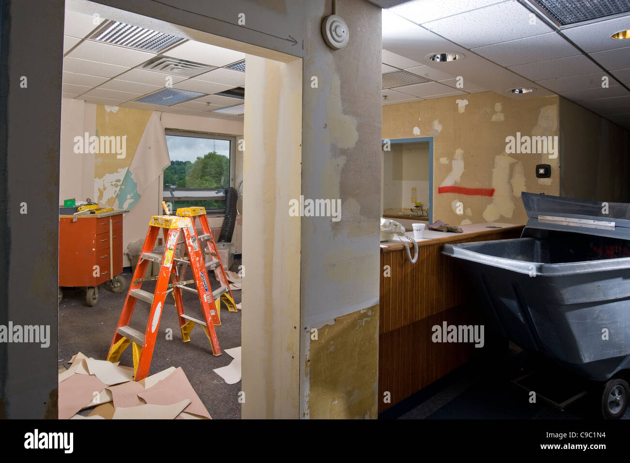 Construction During Office Renovation - Stock Image