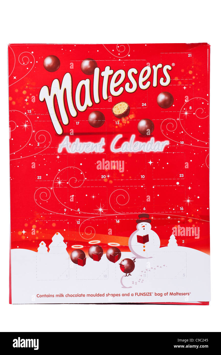 A Christmas advent calendar with chocolate by Maltesers on a white background - Stock Image