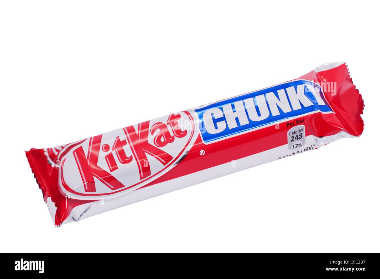 A Nestle chunky KitKat chocolate bar on a white background - Stock Image