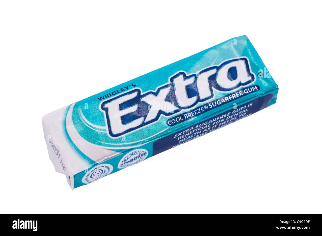 A pack of Wrigley's Extra sugarfree cool breeze chewing gum on a white background - Stock Image