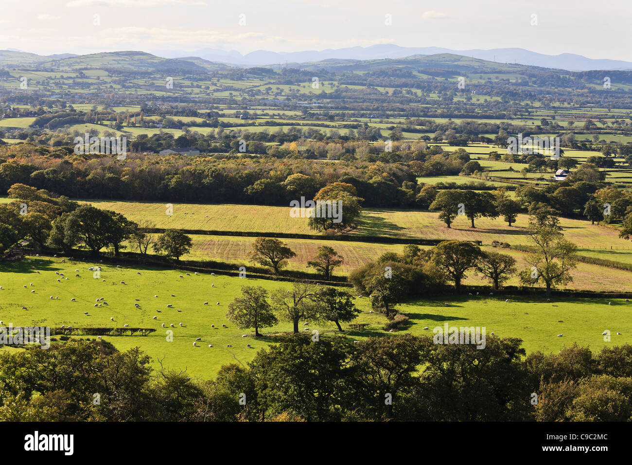 View across Vale of Clwyd from near Rhuallt towards the Snowdon Range, Denbighshire, Wales - Stock Image
