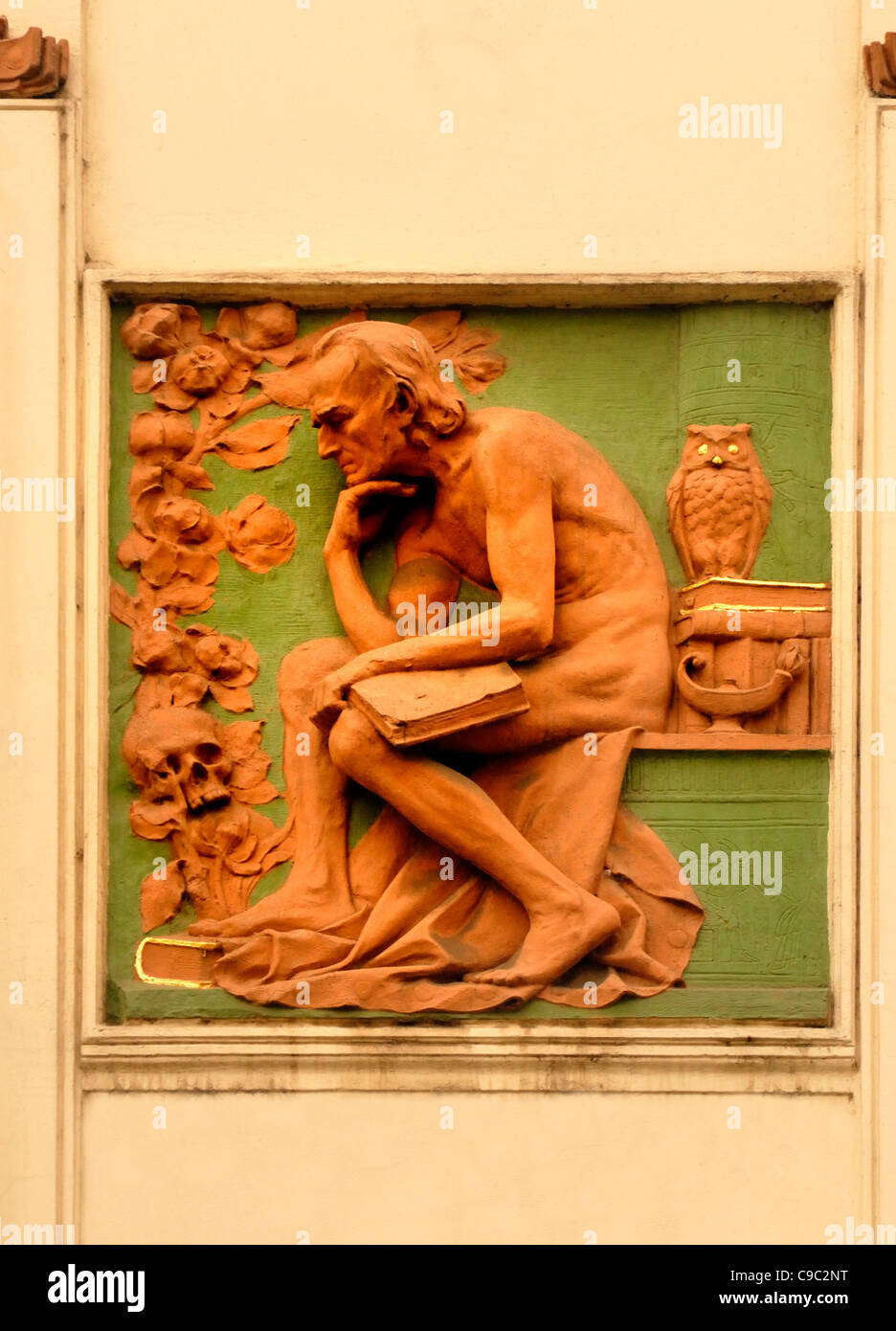 Prague, Czech Republic. Former Topic publishing house building (Topicuv dum; 1910) at Narodni No.9. Facade detail - Stock Image