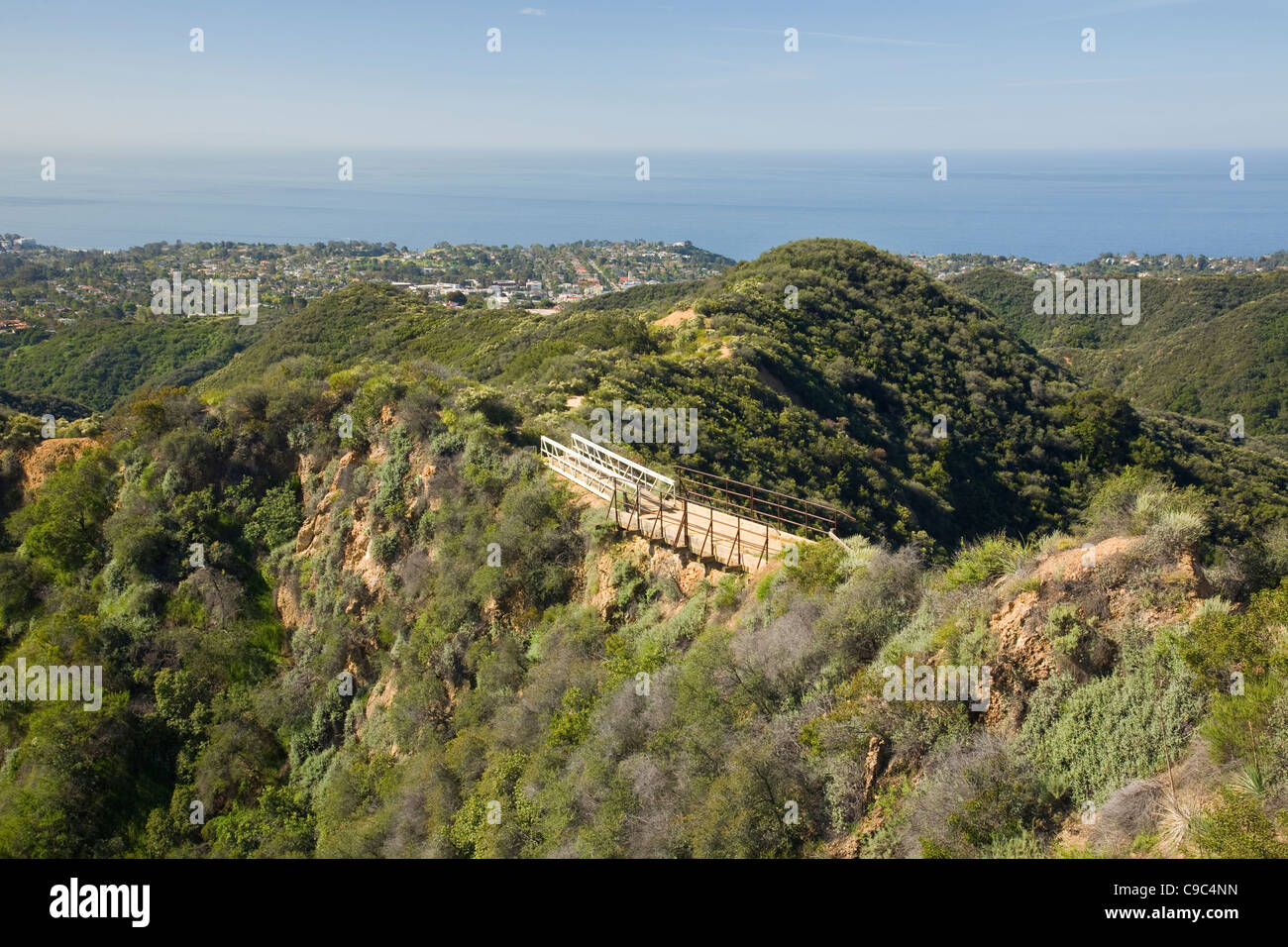 The Pacific Ocean and Santa Monica from the Backbone Trail in the Topanga State Park section of the Santa Monica - Stock Image
