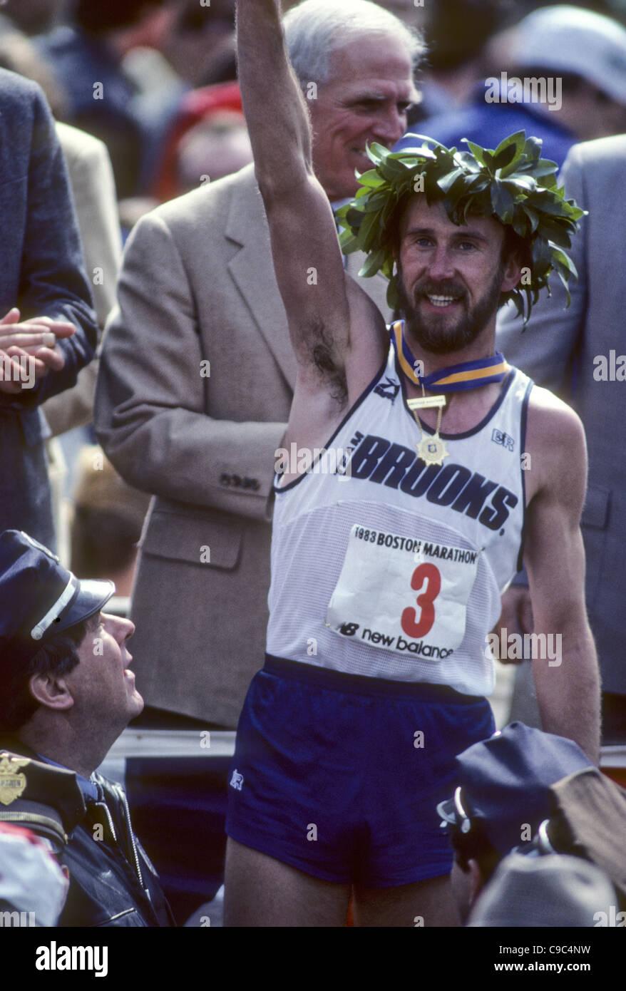 Greg Meyer (USA) winner of the 1983 Boston. Marathon - Stock Image