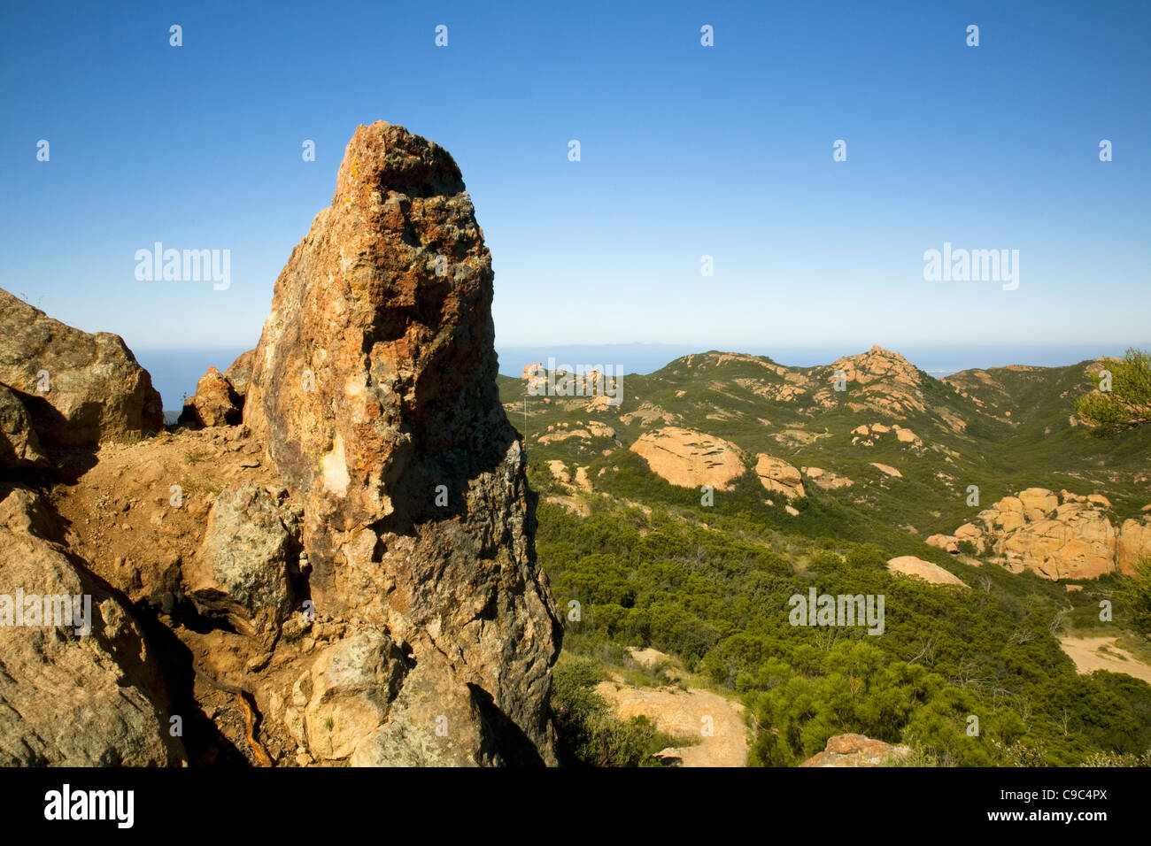 CALIFORNIA - Sandstone spire at the summit of Sandstone Mountain located along the Backbone Trail in the Santa Monica Stock Photo